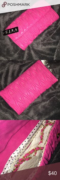 Cira Clutch Beautiful hot pink clutch. Never been used Bags Clutches & Wristlets