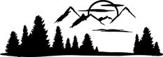 Mountain Pines Decal Camper Motor Home RV Sticker Front End Cap Mountain Silhouette, Horse Silhouette, Silhouette Clip Art, Rv Campers For Sale, Custom Campers, Dark Art Drawings, Ink Pen Drawings, Wall Stickers Mountains, Rv Decals