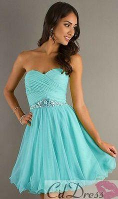 light blue, sequins, sweetheart, short, strapless