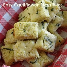 Easy Cheesy Cauliflower Pizza Bites - with tips to make them vegan if you want to!