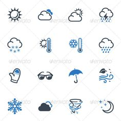 Weather Icons Blue Series — Photoshop PSD #sun #summer • Available here → https://graphicriver.net/item/weather-icons-blue-series/3618385?ref=pxcr