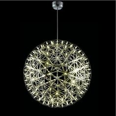 Details:Dutch mathematics professor Raimond Puts designed this brilliant sphere of lights for Moooi. Built of two triangular geometric layers that conduct elect