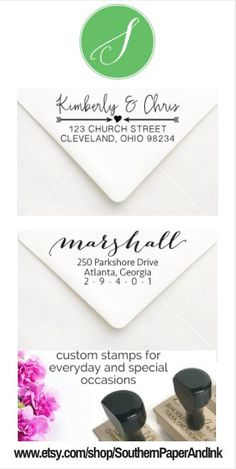 Beautiful Selection of Custom Address Stamps by Southern Paper & Ink $25. Click to customize.