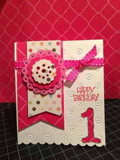Pretty girls first birthday card a pink birthday card is a hand made cards for a 1st birthday via erin zobec bookmarktalkfo Images