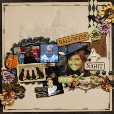 Halloween page using Shabby Miss Jenn's Vintage halloween kit Fiddle Dee Template MSA 14