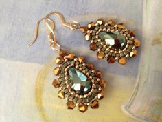 Beadwork Earrings EMERALD GODDESS Seed Bead Dangle Earrings