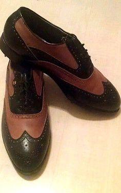 Footjoy-Classics-Black-Tan-Two-Tone-Wing-Tip-Golf-Shoes-10-D SOLD
