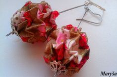 Origami Ball Lantern earrings in gold red and white by MarysaArt