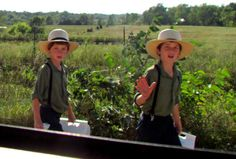 Amish boys off to school. <<< like The Adventures of Tom Sawyer