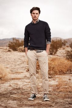 OK, it says 2012 spring/summer collection but you've got the sweater, shirt and sneakers - but the art is in wearing chinos instead of jeans.