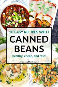 These easy, healthy canned bean recipes are cheap and fast to make! This list includes vegan, vegetarian, and recipes with meat, gluten-free recipes, dinner ideas, snacks, and sides. Best of all? It's so easy to use any kind of bean you have in your pantry to make these recipes! Vegetarian Tortilla Soup, Vegetarian Chili Easy, Vegan Vegetarian, Bean Recipes, Free Recipes, Canned Beans Recipe, My Favorite Chili Recipe, Real Food Recipes, Healthy Recipes