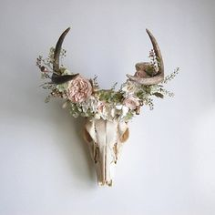 Deer Skull with Preserved Floral Crown - Reserved for Candice Antler Crafts, Antler Art, Deer Skull Decor, Deer Horns Decor, Painted Deer Skulls, Deer Antlers, Hunting Lodge Decor, Flowers For Sale, Pinterest Design