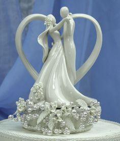 vintage pearls | Vintage Rose Pearl and Heart Wedding Cake Topper - Wedding ...