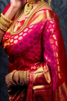 Rani Pink Colored Traditional Silk Saree With Blouse For Women - Bridal Sarees With Price, Bridal Sarees Online, Silk Sarees With Price, Kanjivaram Sarees Silk, Indian Silk Sarees, Indian Beauty Saree, Banarsi Saree, Pink Saree Silk, Wedding Silk Saree