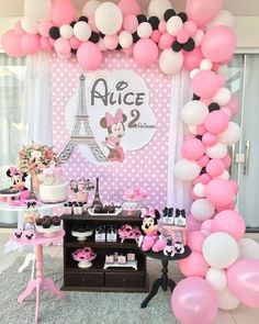 Ideas Birthday Decorations Backdrop Mickey Mouse For 2019 Happy Birthday B, Baby Girl Birthday Theme, Paris Birthday Parties, Mickey Baby Showers, Minnie Mouse Baby Shower, Minnie Mouse Pink, Minnie Mouse Birthday Decorations, Minnie Mouse 1st Birthday, Minie Mouse Party