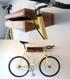 Aufhängung für das Fahrrad. bike shelf from Chris Brigham. love the minimalism + function.