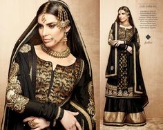 A gorgeous attire in charcoal black with a traditional ?sharara? bottoms. Classic fusion of gold ?zari? and brocade at the neck and hem. Weaved fabric with black chiffon patched embroidery dupatta.