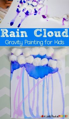 Rain cloud gravity painting is a fun and easy process art activity for kids that makes for great indoor fun on a rainy day. Learn about how gravity makes the rain fall from clouds while playing with water colors and cotton balls. This spring activity is fun for kids to make, and it provides a great opportunity for them to learn while they play! #spring #kidscraft #artideas #kindergarten #preschool #weather #kidsactivities