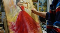 Picturi tablouri creatii originale, tehnica mixta in cutit de paleta - V... Stele, Ball Gowns, Art Gallery, Formal Dresses, People, Painting, Fashion, Fitted Prom Dresses, Formal Gowns