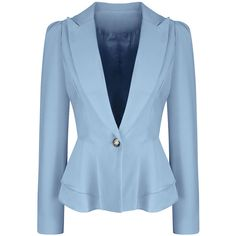 Office Peplum Notch Lapel Single Button Solid Blazer ($36) ❤ liked on Polyvore featuring outerwear, jackets, blazers, peplum jacket, blue peplum blazer, peplum blazer, patterned blazer and formal blazers
