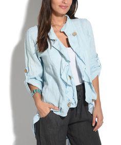 Look what I found on #zulily! Sky Blue Button Linen Hi-Low Jacket #zulilyfinds