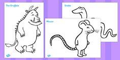 The Gruffalo Colouring Sheets - The Gruffalo, resources, mouse Gruffalo Activities, Gruffalo Party, Friend Activities, The Gruffalo, Toddler Learning Activities, Color Activities, Preschool Activities, Colouring Sheets, Colouring Pages