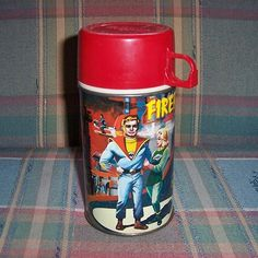 1964 Fireball XL5 Metal Thermos Bottle from timemachinecollectibles on Ruby Lane