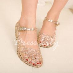 Sweet Hollow Out and Sparking Glitter Design Wedge Shoes For Women