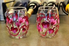 My heart wine tumblers!  https://www.etsy.com/listing/176547210/stemless-wine-glasses-set-of-two-hand?