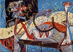 "Jackson Pollock, Stenographic Figure.(1942) Oil on linen, 40"" x 56"" (101.6 x 142.2 cm). The Museum of Modern Art, New York."
