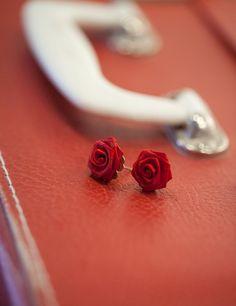 Red Rose Flower Earrings $10