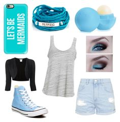 """""""Blue Mermaid"""" by cassievetter on Polyvore featuring Casetify, Blooming Lotus Jewelry, Converse, Eos, Topshop, Project Social T, Oscar de la Renta, women's clothing, women and female"""