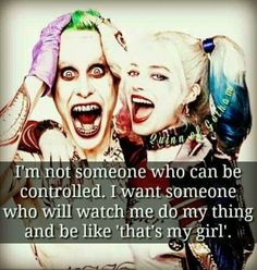 Suicide Squad Quote ~Joker & Harley Quinn Selbstmordkommando Zitat ~ Joker & Harley Quinn The post Selbstmordkommando Zitat ~ Joker & Harley Quinn appeared first on Ruby Sanders. Bitch Quotes, Joker Quotes, Sassy Quotes, Badass Quotes, True Quotes, Funny Quotes, Marvel Quotes, Harley And Joker Love, Joker And Harley Quinn