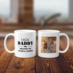 """Start every day the right way with a """"This Daddy Belongs To"""" custom photo mug. It's a wonderful gift for a husband, Father's Day gift, and a great birthday coffee mug. Whatever the occasion, pops will surely love it! This personalized dad mug is an adorable way to show the man in your life how much you care. It's a unique piece that will stir up some smiles. Add your favorite photo and kids' names for a perfect custom touch. Birthday Coffee, Dad Birthday, Personalized Gifts For Dad, Custom Canvas Prints, Dad Mug, Custom Photo Mugs, Thoughtful Gifts, Fathers Day Gifts, Family Photos"""