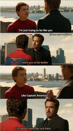 him and Tony Stark is absolutely nothing less than father and son relation. Here we bring you the funniest Tony Stark and Peter Parker memes. Avengers Humor, Marvel Avengers, Marvel Jokes, Films Marvel, Funny Marvel Memes, Dc Memes, Captain Marvel, Marvel Comics, Funny Superhero Memes