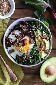 Beet Rice & Garlicky Kale Bowls with Beet Green Pesto | Dairy free, gluten free, paleo, and vegetarian. | Click for healthy recipe. | Via The Roasted Root