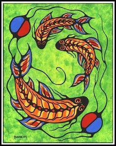 Ayla Bouvette - Metis Art -   Fish Clan Contour For Round Face, Native American Artwork, Woodland Art, Inuit Art, Native Design, Water Art, Art Template, Indigenous Art, Canadian Artists