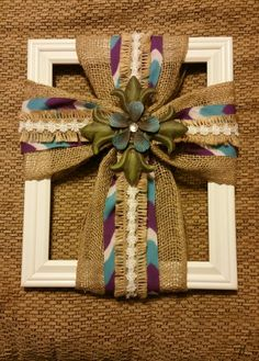 Burlap Cross with Blue Flower