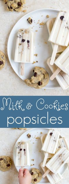 Milk and cookies popsicles. Kid food and toddler food ideas, and toddler snack ideas. Frozen Desserts, Frozen Treats, Fun Desserts, Dessert Recipes, Appetizer Recipes, Dessert For Two, Dessert Drinks, Yummy Treats, Sweet Treats
