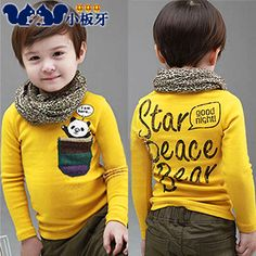 2013 autumn korean version of the new childrens clothing baby boy bear pocket bottoming shirt long-sleeved t-shirt 6689 only $7.62USD a Piece