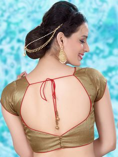 Golden brocade custom made readymade blouse for saree womens mix n match latest Bollywood style for Saree Blouse Neck Designs, Fancy Blouse Designs, Kurta Designs, Designer Blouse Patterns, Skirt Patterns, Coat Patterns, Clothes Patterns, Sewing Patterns, Color Beige