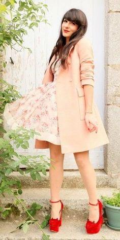 Beige-Coat-Beige-Floral-Skater-Dress-Red-Suede-Wedge-Pumps