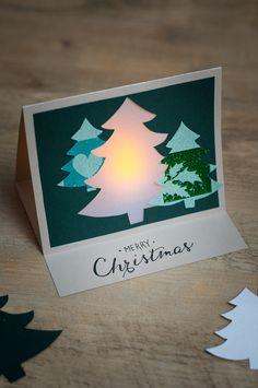 Kreative Bastelideen für Weihnachten - schöne Weihnachtskarte, die sogar leuchtet und somit winterliche Stimmung verbreitet.