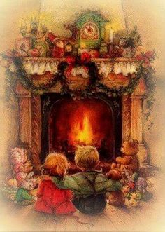 Two little children sitting before the Christmas eve fireplace waiting for Santa.