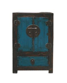 Chinese Black & Blue Lacquer End Table Nightstand - Golden Lotus Antiques