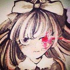 赤い目の、威圧的な少女。白と黒の服を着ていて、図書館に迷い込んで出られなくなってしまった主人公を導き守る不思議な女の子。  アナログ/水彩