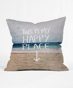 'Happy Place' Beach Throw Pillow