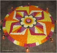 Pookalam is a variant of rangoli where the designs are made out of flowers. Here are some of the best designs along with themes that you can use to add colour during the different festivities! Indian Rangoli Designs, Rangoli Designs Flower, Rangoli Patterns, Flower Rangoli, Flower Designs, 3d Paper Flowers, Painting Flowers, Onam Pookalam Design, Onam Festival