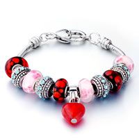 Pugster Red And Pink Mixed Style Dangle Heart Pandora Beaded Bracelet$49.99