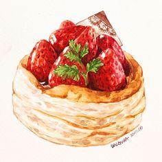 New Anime Art Drawings Artists Ideas Cake Drawing, Food Drawing, Chibi Manga, Desserts Drawing, Dessert Illustration, Cute Food Art, Food Sketch, Watercolor Food, Food Painting